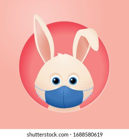 Rabbit in a medical mask corona virus easter vector character