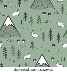 Rabbit and Mountains Seamless Pattern Background, Scandinavian Happy cute bunny in the forest. Kids nordic background