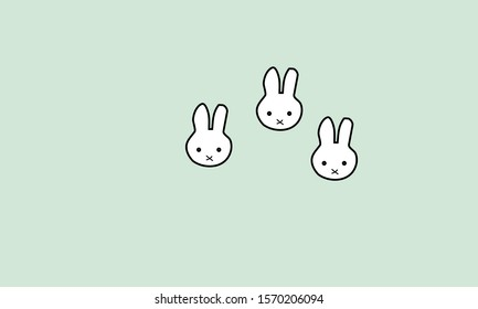 A rabbit on a blue background image Illustration and vector
