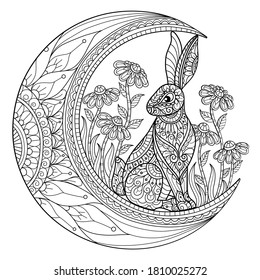 Rabbit on the moon. Zentangle stylized cartoon isolated on white background.  Hand drawn sketch illustration for adult coloring book.