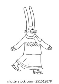 Rabbit on skates. Hand-drawn illustration.