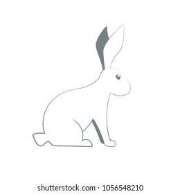 rabbit outline icon. Vector image isolated on green background