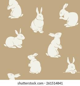 Rabbit pattern vintage seamless pattern