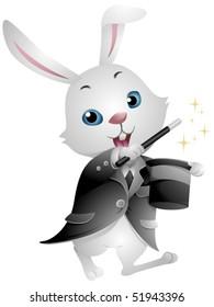 Rabbit performing magic trick - Vector
