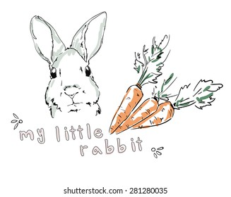 rabbit, pet sketch, carrots, vector illustration