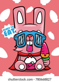rabbit pink cute eat carrot yummy cartoon character design