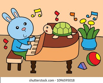 Rabbit play piano with his friend, turtle