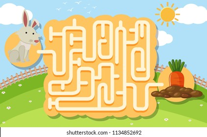 A rabbit puzzle maze game illustration