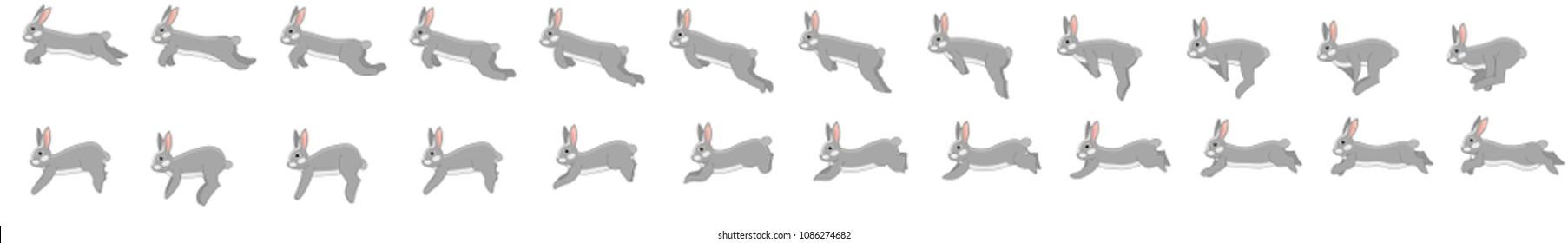 Rabbit run cycle animation sprite sheet
