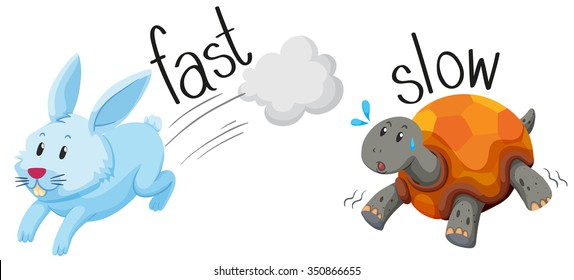 Rabbit runs fast and turtle runs slow illustration