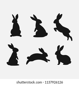 Rabbit set. Isolated on white background. Bunny silhouettes. Vector.