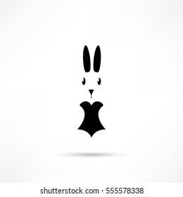 Rabbit Silhouette. Easter. Bunny head