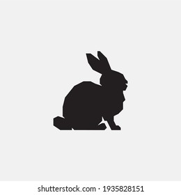 Rabbit silhouette icon. Rabbit logo.
