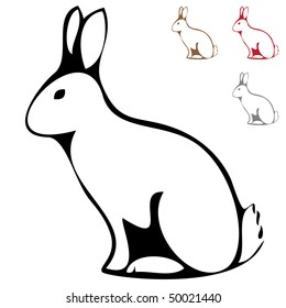 Rabbit silhouette isolated on white background