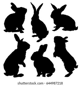 Rabbit silhouette set. Vector illustration