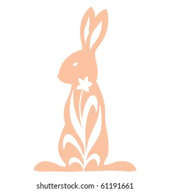 Rabbit silhouette standing illustrated with growing flower.