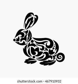 Rabbit silhouette. Tattoo. Vector illustration. Silhouette of rabbit with ornament.