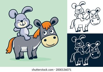 Rabbit sit on donkey's back. Vector cartoon illustration in flat icon style