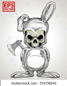 rabbit skull or horror clown with axe in hand print background isolated