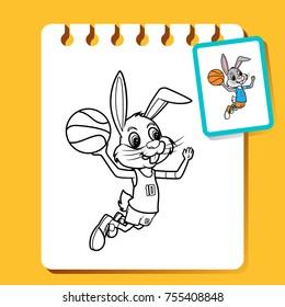 Rabbit Slam Dunk,  basketball line art illustration for coloring book or page