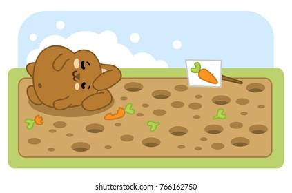 Rabbit sleeping on field after eating too many carrots (vector cartoon)