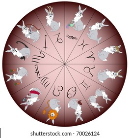 Rabbit - symbol of year 2011 - charactered as Zodiac signs. Vector illustration.