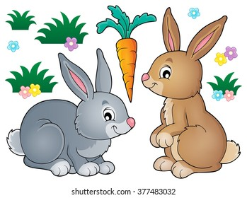 Rabbit topic image 1 - eps10 vector illustration.