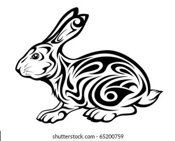 rabbit tribal tattoo design
