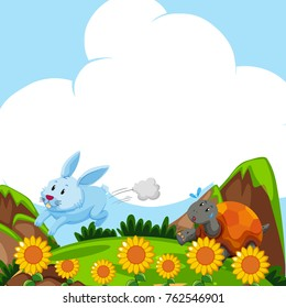 Rabbit and turtle running in the field illustration
