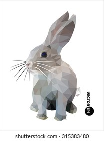 Rabbit vector illustration in polygonal style. rabbit isolated on white background.