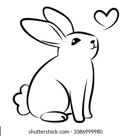 Rabbit Vector On White Background , Use for Web, line , icon or logo,  cartoon bunny. hare pose in love.