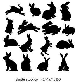 rabbit vector silhouettes set isolated on white background with many style