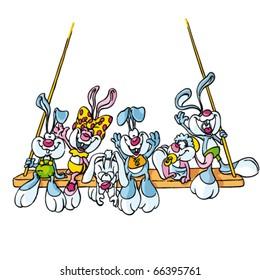 Rabbit wedding. Rabbit cartoon vector illustration. Hand drawn colored art character easy editable for book.