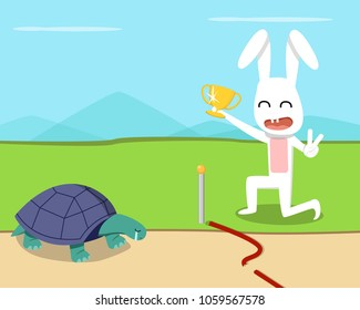 Rabbit wins the turtle in the race, vector design