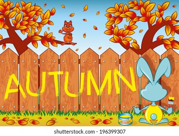 Rabbit writes on a fence the word: Autumn
