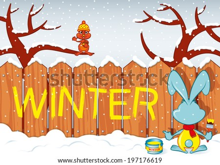Rabbit writes on a fence the word: Winter