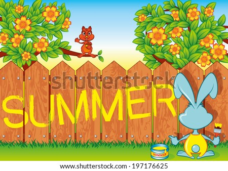Rabbit writes on a fence the word Summer