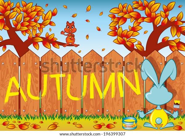 Rabbit writes on a fence the word: Autumn