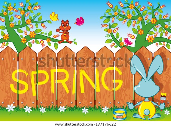 Rabbit writes on a fence the word: Spring