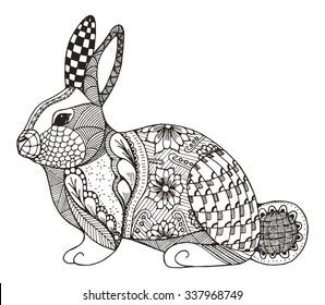 Rabbit zentangle stylized, vector, illustration, pattern, freehand pencil, hand drawn.