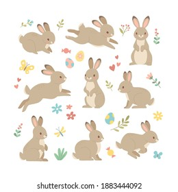 Rabbits collection. Vector illustration of cute cartoon brown bunny in different poses and actions: sitting, jumping laying. Isolated on white