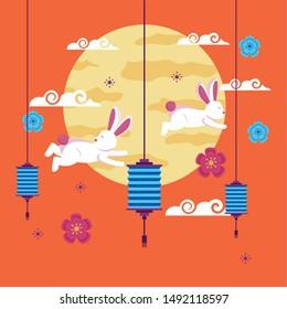 Rabbits design, Mid autumn festival china oriental celebration and traditional theme Vector illustration