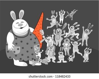 rabbits.big family.