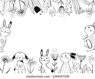 Rabbits and flowers. Black and white elements. Vector illustartion