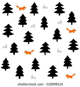 rabbits and foxes wild life forest with animals cartoon style seasonal winter pattern on white background