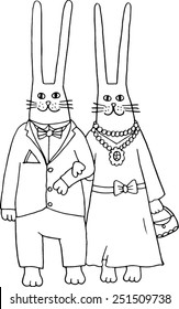 Rabbits go out. Hand-drawn illustration.