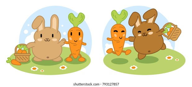 Rabbits holding basket, together with carrot friend (vector cartoon)