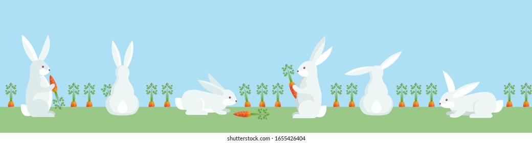 Rabbits hunt to carrot at seamless background. Repeatable horizontal banner with bunnies and vegetable garden. Vector illustration.