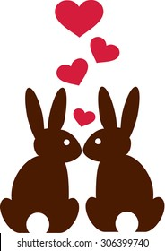 Rabbits in love with hearts