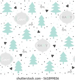 rabbits in love wild life forest with animals cartoon style pastel mint turquoise seasonal winter romantic love seamless pattern on white background with text in English